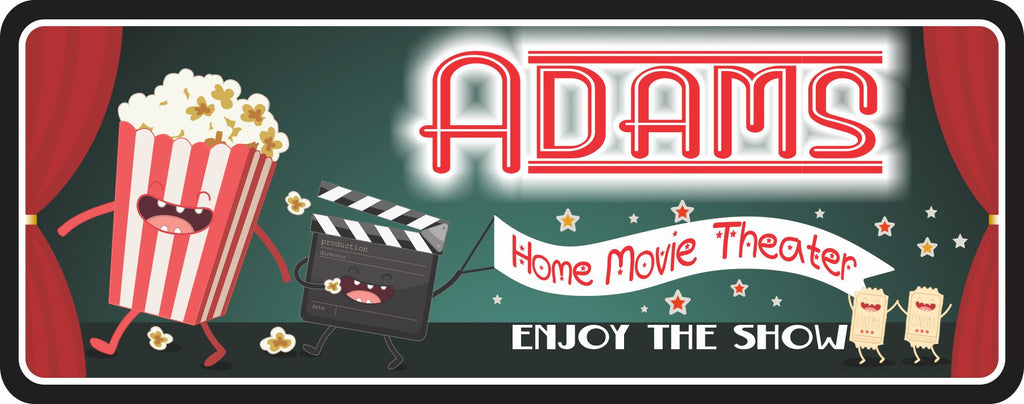 """Enjoy the Show"" Personalized Home Theater Sign with Retro Neon Lettering and Dancing Popcorn, Clapboard, and Movie Tickets, Red and Green Theme"