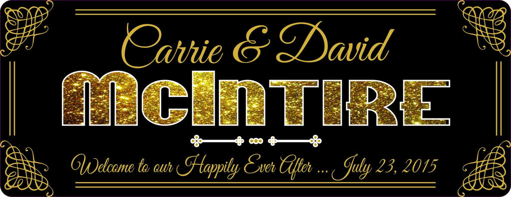 """Our Happily Ever After"" Romantic Personalized Sign With Custom Anniversary Date, Elegant Wall Décor In Gold And Black, Couple's Anniversary Gift"