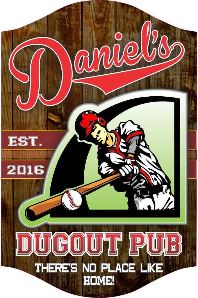 "Baseball ""There's No Place Like Home"" Custom Sports Bar Sign, Classic American Font & Player Illustration On Dark Wood, Home Bar Decor, Man Cave Needs"