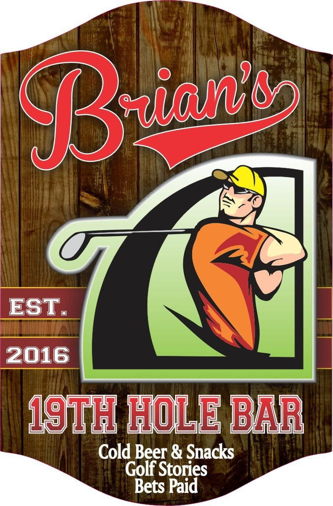 19th Hole Personalized Home Bar Sign For Golfers, Traditional Wood Style Background, Classic Sports Font, Gift For Golfers, Sports Bar Decor