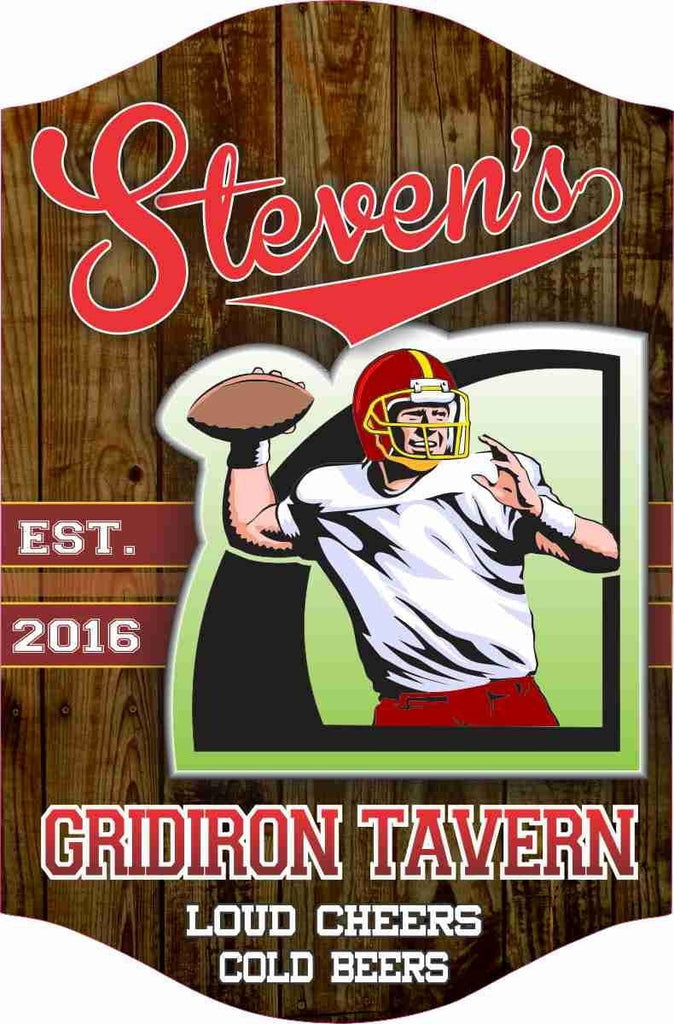 Football Themed Bar, Tavern or Home Bar Sign, Wood Grain Background and Quarterback, Established Date, Personalized Name And Quote