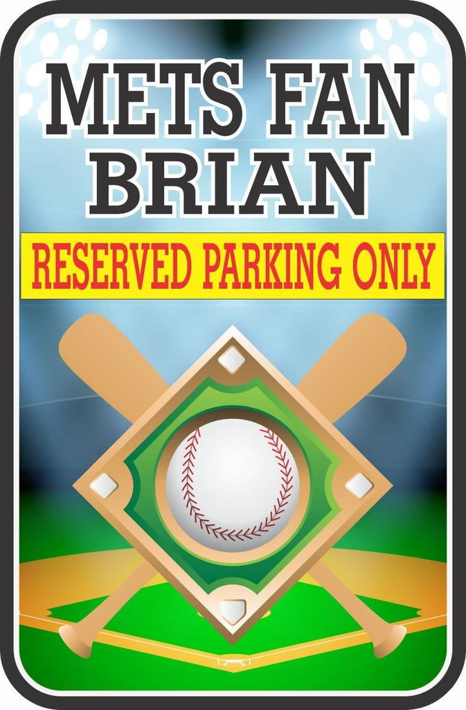Baseball-themed parking sign fully customized to your individual personality