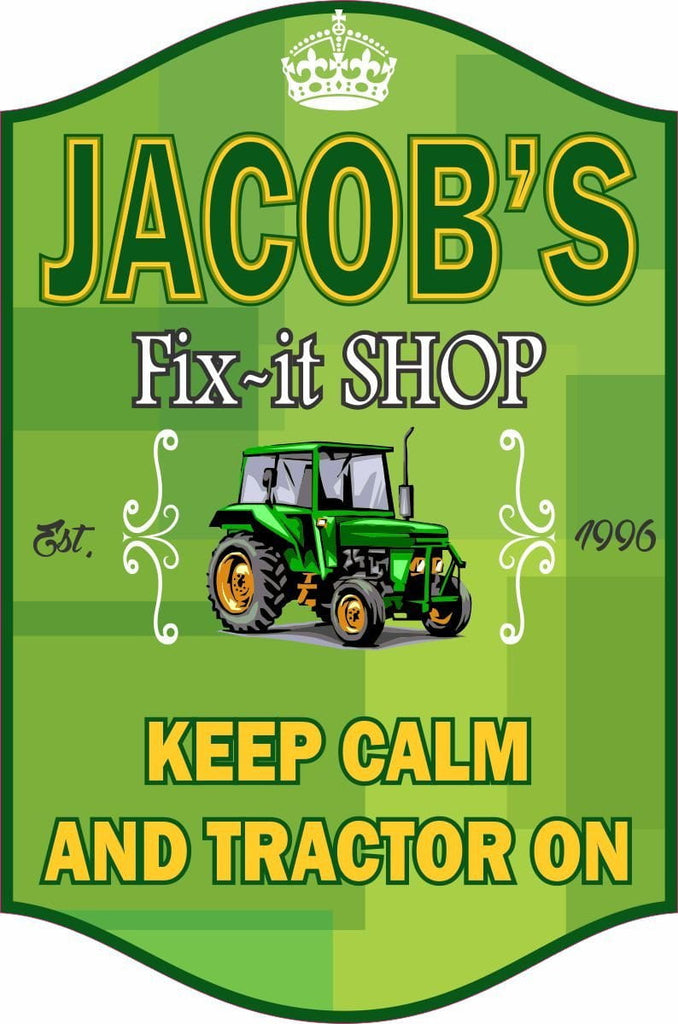 """Keep Calm And Tractor On"" motivational farming and tractor sign for any repair shop or fix-it workshop."