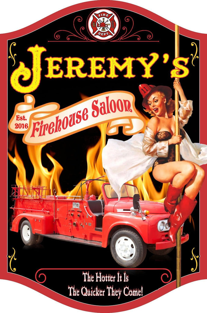 Firehouse Saloon Personalized Sign with Vintage Pinup Girl on Fireman's Pole & Firetruck in Flames