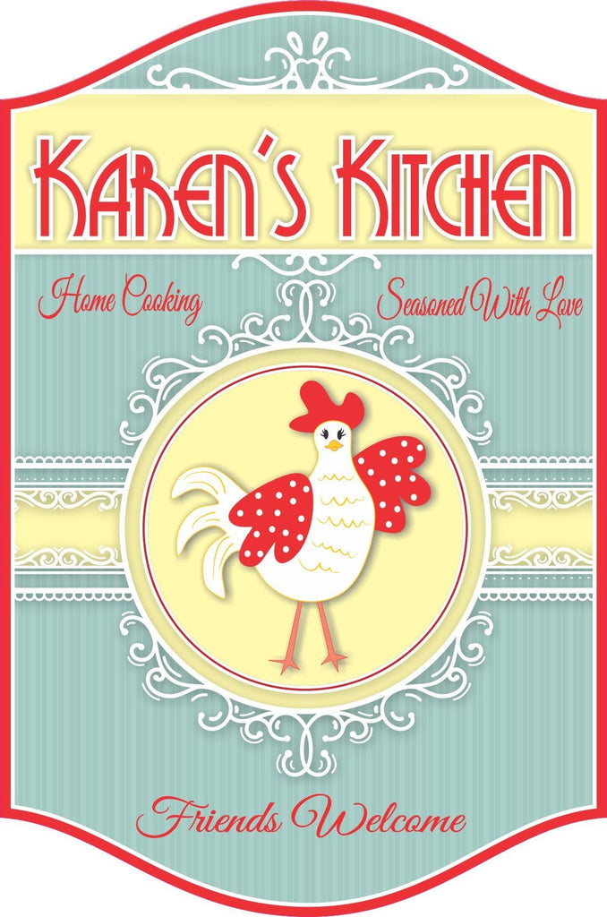 Vintage Custom Kitchen Sign with Cartoon Country Chicken