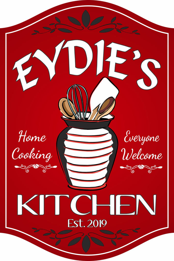 Classic Custom Kitchen Sign with Utensil Holder, Whisk, Spoons and Spatula in White, Black and Red Motif