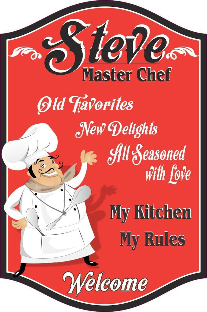 Custom Kitchen Sign with Happy Waving Cartoon Male Chef