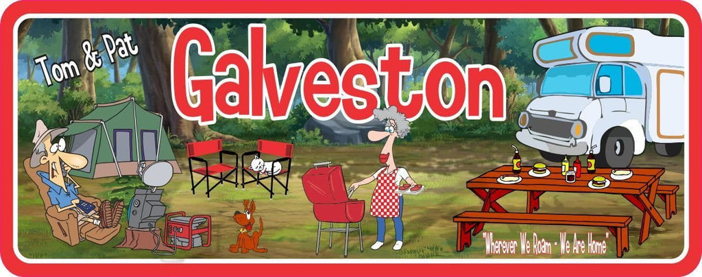 Custom RV Sign with Cartoon Couple & Pets at Campsite with Tent, Picnic Table and Motorhome