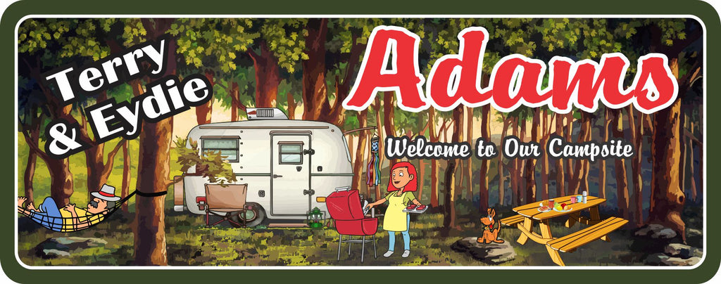Campsite welcome sign, personalized RV decor with couple & grilling