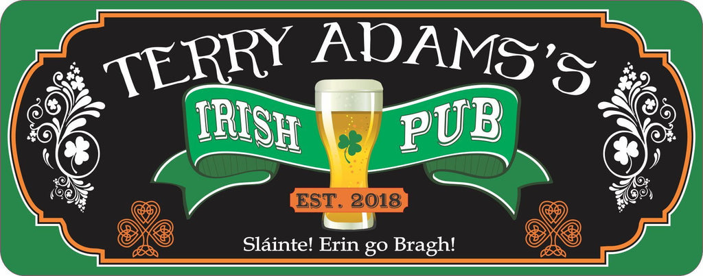 Custom Irish Pub Bar Sign for Home with Flourishes and Shamrocks