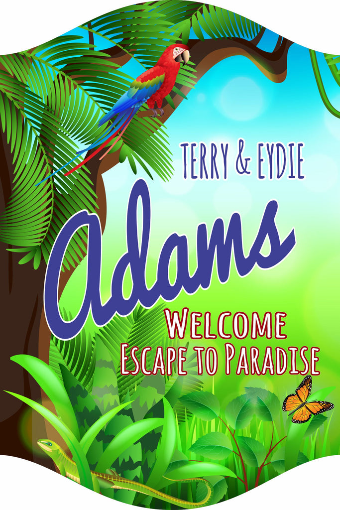 Custom  Personalized Tropical Paradise Sign with Parrot, Butterfly and Lizard