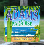 Personalized Beach Welcome Sign with Frog and Ocean Waves