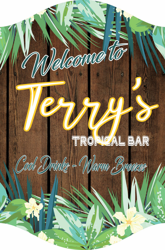 Custom Paradise Backyard Welcome Sign With Faux Wood Background And Tropical Flowers
