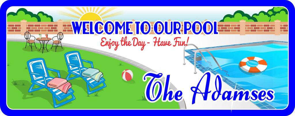Custom Welcome Sign With Pool, Loungers, And Sun