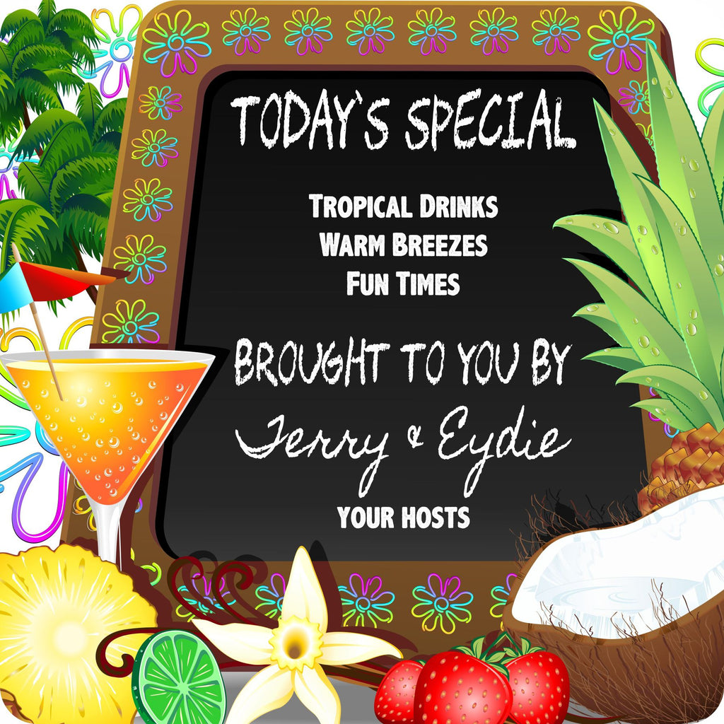 Personalized Today's Special Tiki Bar Sign With Chalkboard, Cocktail, Palm Trees, And Tropical Fruits