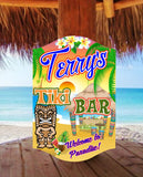 Personalized Tiki Bar Welcome Sign with Beach Scene, Tiki Totem
