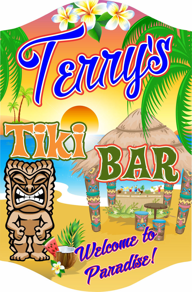 Personalized Tiki Bar Welcome Sign With Bar, Palm Trees, Tiki Totem, And Tropical Beach Scene
