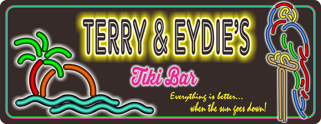 Personalized Tiki Bar Sign With Neon Effect Font, Tropical Theme, Parrot, And Palm Tree