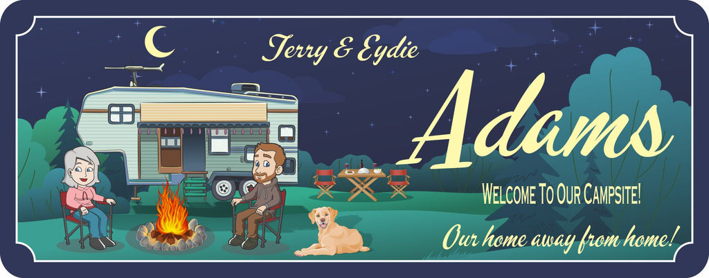 Custom RV Camper Sign With Cartoon Couple, Firepit and Picnic Table