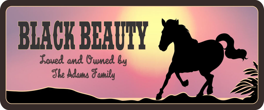 Personalized Horse Stall Sign with Pink Sunset and Silhouette