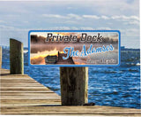 Personalized Boat Dock Sign with Sunset and Row Boat