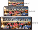 Boat Dock Welcome Sign with Photographic Lake Background - 3 Sizes