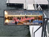 Boat Dock Welcome Sign with Photographic Lake Background
