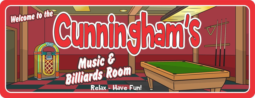 Personalized Music and Billiards Room Sign with Jukebox