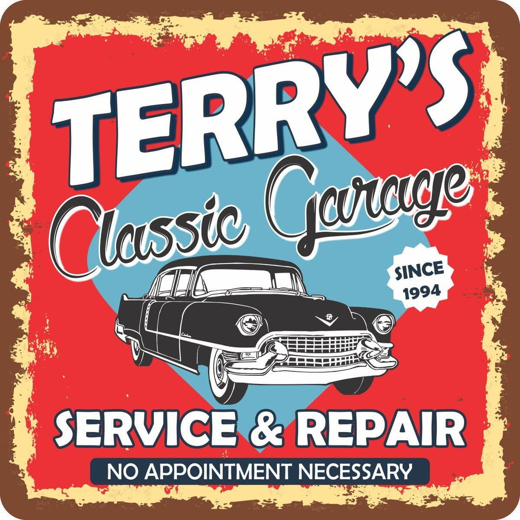 Personalized Garage Sign with Classic Car