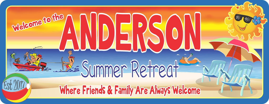Personalized Beach Summer Retreat Sign