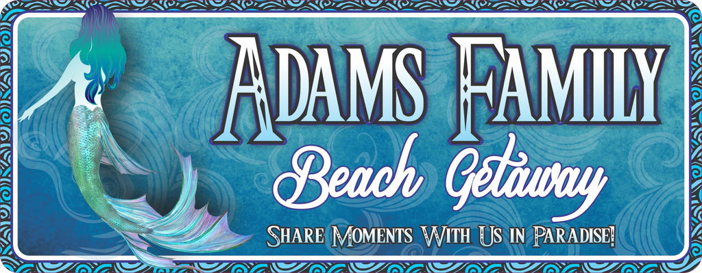 Personalized Beach House Sign in Blue with Mermaid and Ocean Waves Border
