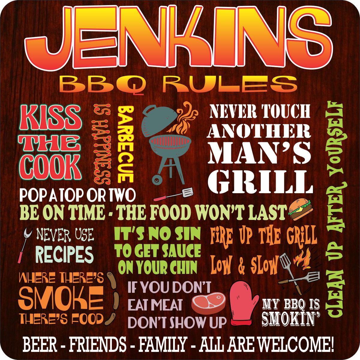 Custom BBQ Rules Sign with Funny Phrases - Outdoor BBQ Signs - Backyard  Wall Art Plaque