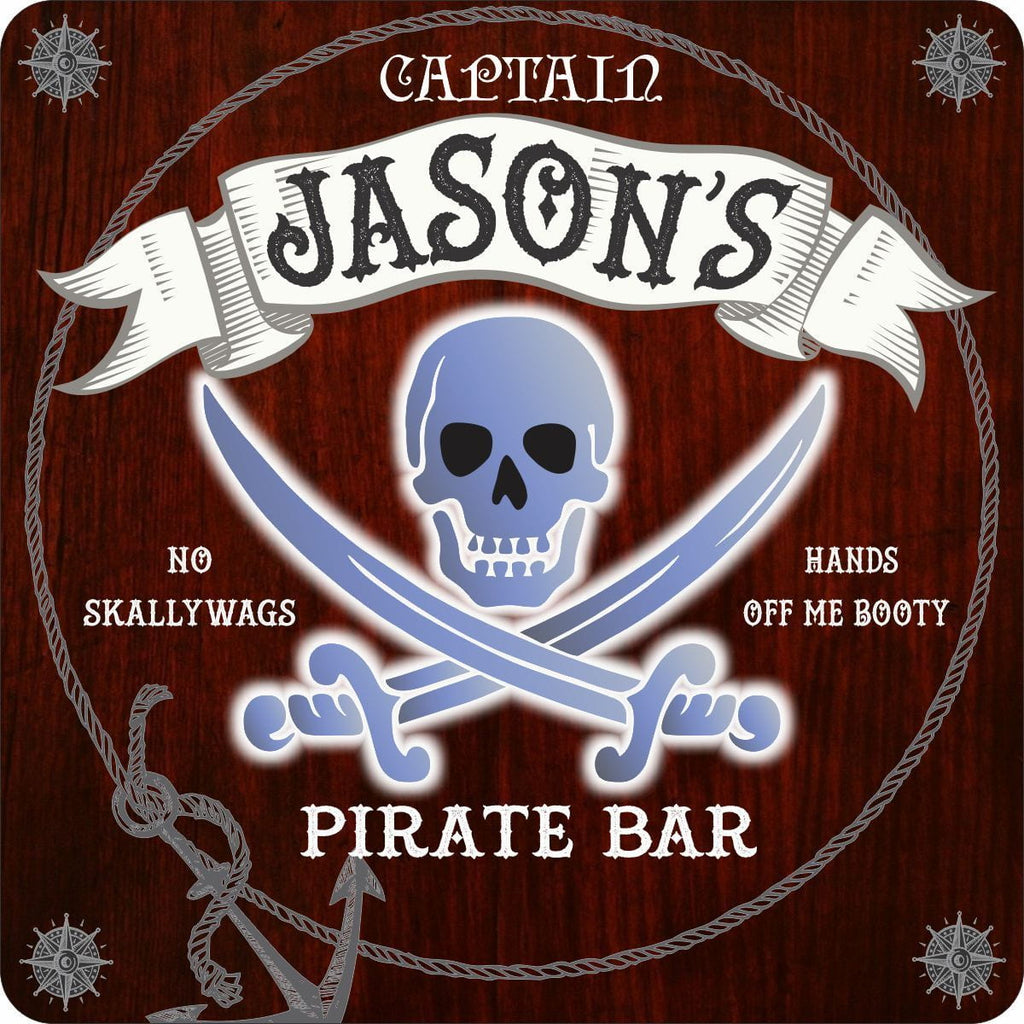 Custom Pirate Home Bar Sign with Neon Effect Skull and Crossbones. Choice of Background