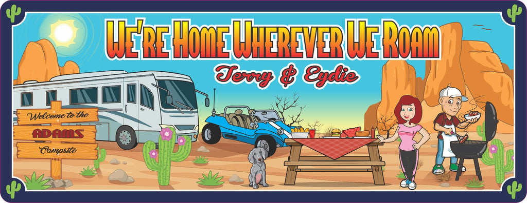Custom Camping Welcome Sign with Motor Home and Desert Scene - Personalized RV Plaque