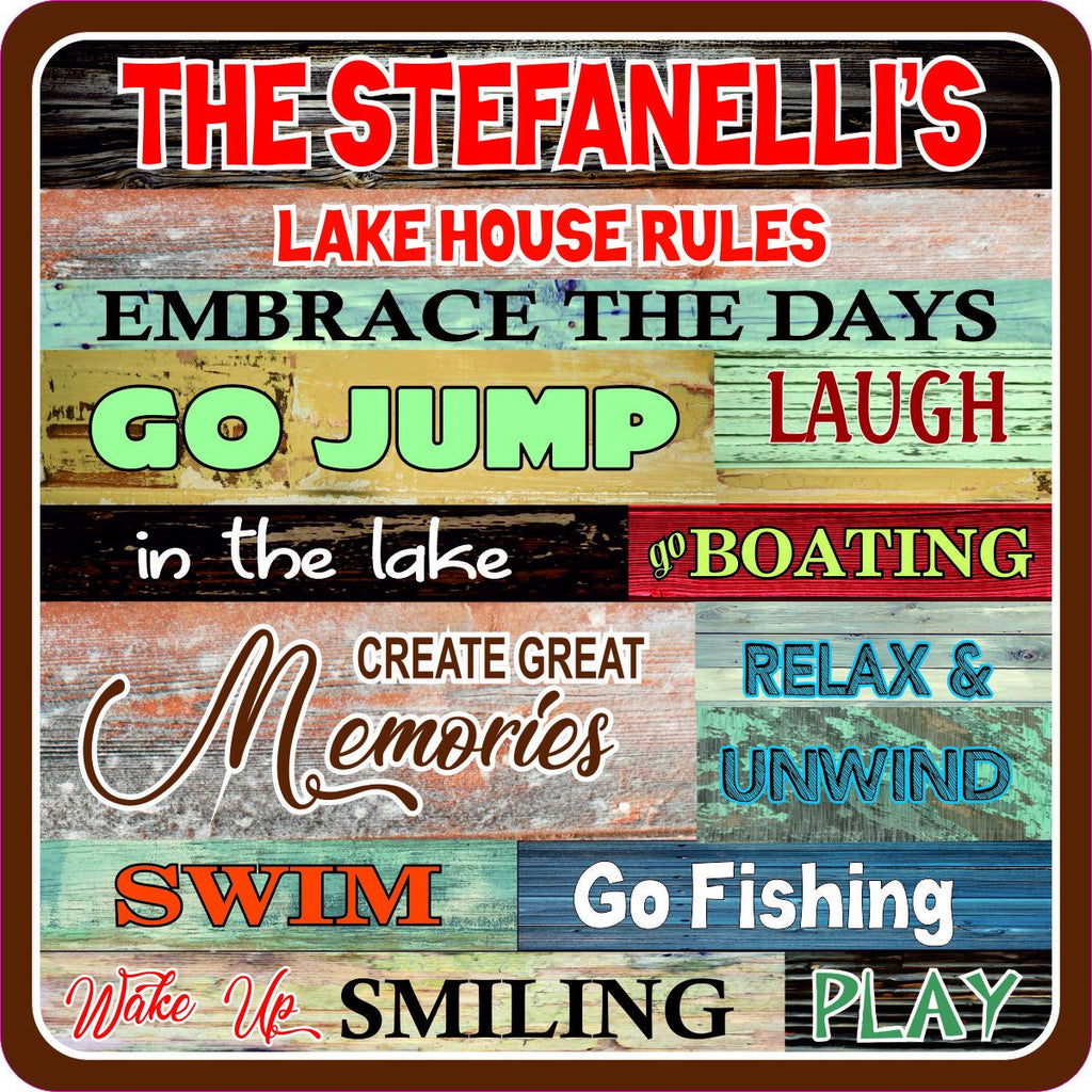 Personalized Lake House Rules Sign - Custom Lake House Signs Wall Decor