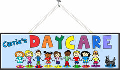 Custom Daycare Sign with Row of Smiling Children