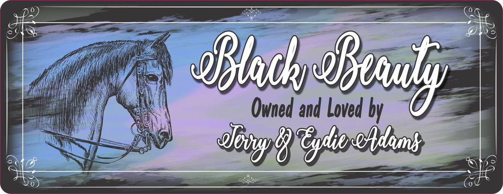 Personalized Horse Stall Sign with Sketch Design