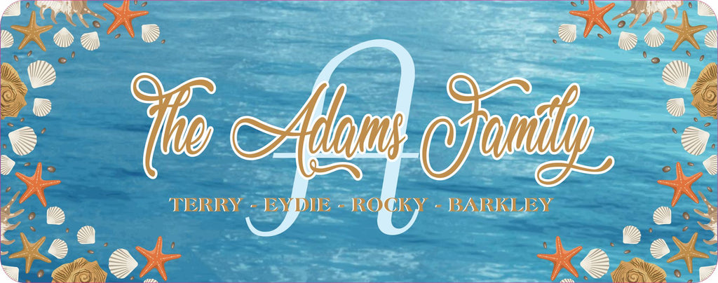 Personalized Beach Themed Family Name Sign with Initial, Coastal Style Custom Family Sign