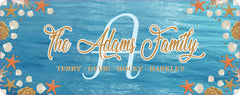 Personalized Family Name Sign with Initial and Coastal Beach House Theme