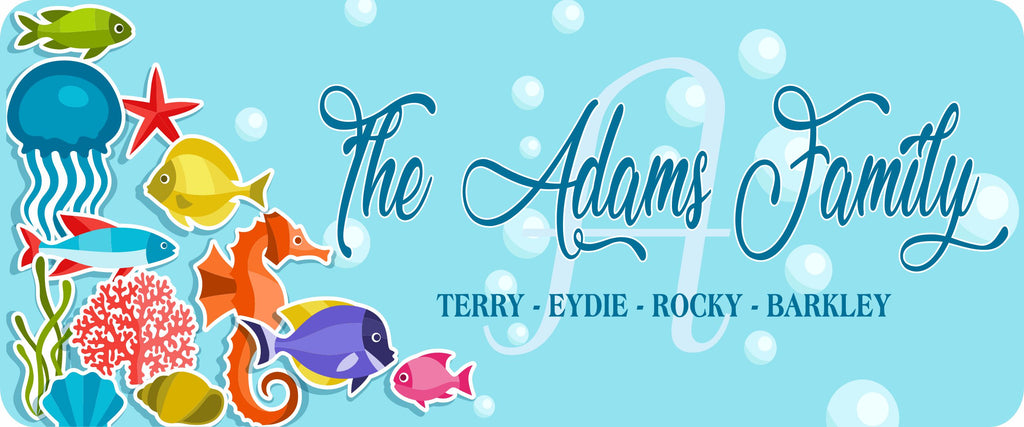Personalized Family Name Sign with Tropical Ocean Design, Custom Family Sign