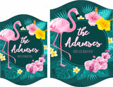 Personalized Flamingo Sign with Tropical Design and Inspirational Quote - 2 Sizes