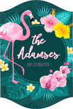 Personalized Flamingo Sign with Tropical Design and Inspirational Quote