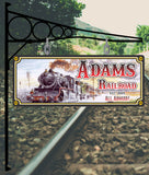 Personalized Train Sign with Vintage Railroad and Steam Locomotive