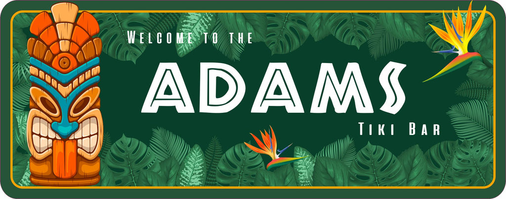 Tropical Personalized Tiki Bar Sign with Tiki Totem and Bird of Paradise Flowers Design