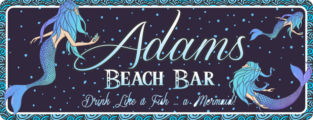 Mermaid Personalized Beach Bar Sign -  Custom Beach House Decor