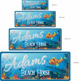 Tropical Decor Personalized Beach House Sign with Underwater Coral Reef Design - 4 sizes
