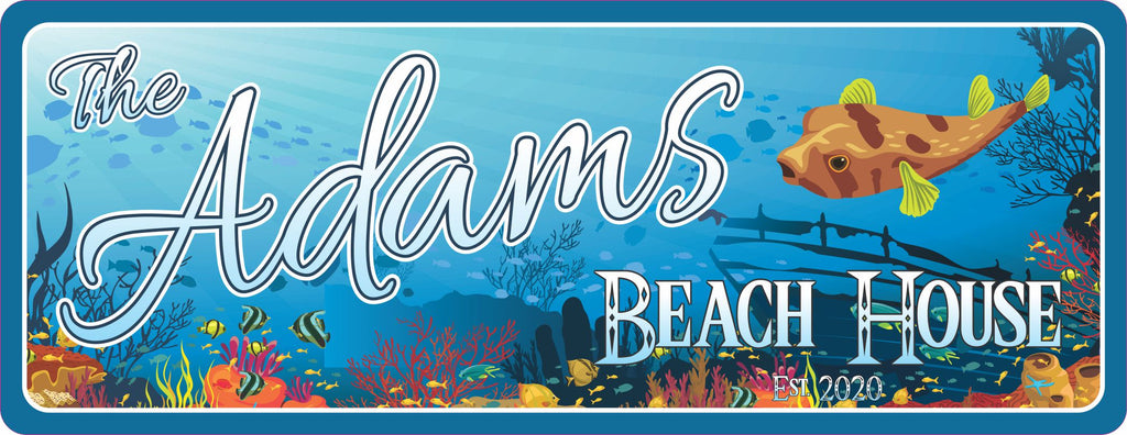 Tropical Decor Personalized Beach House Sign with Underwater Coral Reef Design