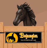 Personalized Horse Stall Name Sign with Silhouetted Horse