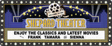 Personalized Home Theater Sign with Movie Marquee Design of Stars and Flashbulbs