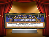 Personalized Home Theater Marquee in Blue Cinema Welcome Sign